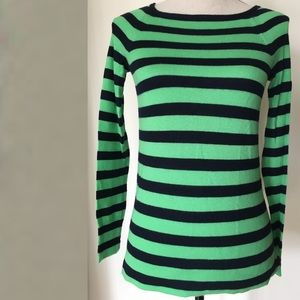 J.Crew Cashmere Green Stripes sweater tunic XXS